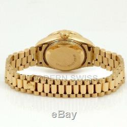 Rolex Ladies President 18K Yellow Gold Silver Diamond Dial Bezel 69178 Quickset