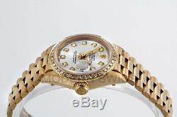 Rolex Ladies President 18K Yellow Gold Silver Diamond Dial & Bezel Quickset 2YR