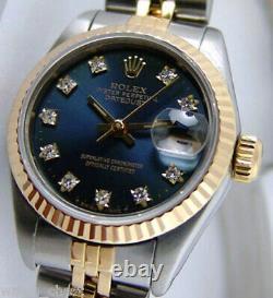 Rolex Lady Datejust Gold & Steel Blue Diamond Dial 69173 Jubilee WATCH CHEST