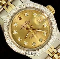 Rolex Lady Datejust Oyster Stainless Gold Diamond Dial Bezel Watch