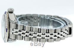 Rolex Lady Datejust Watch Ss & 18k White Gold Blue String Diamond & Sapphire