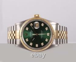 Rolex Men Datejust 16233 Two Tone 36mm Steel-18k Fluted Bezel-Green Diamond Dial