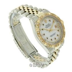 Rolex Men's Watch Datejust 16013 18K Gold 36mm Sapphire Dial Diamond Bezel