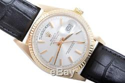 Rolex Mens 18K Yellow Gold Day-Date President Silver Dial Black Strap