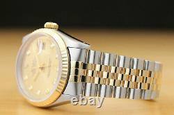 Rolex Mens 2-tone Datejust 16233 Champagne Diamond Dial Watch & Rolex Band