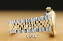 Rolex Mens Datejust 16233 Silver 18k Yellow Gold Stainless Steel Diamond Watch