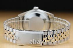 Rolex Mens Datejust 18k White Gold Stainless Steel Black Diamond Watch