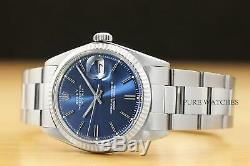 Rolex Mens Datejust Blue Dial 18k White Gold & Steel Watch + Oyster Band