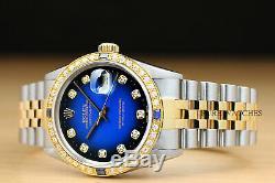 Rolex Mens Datejust Blue Vignette Sapphire Diamond 18k Yellow Gold & Steel Watch
