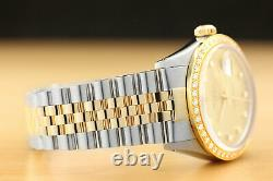 Rolex Mens Datejust Factory Diamond Dial 18k Yellow Gold Stainless Steel Watch