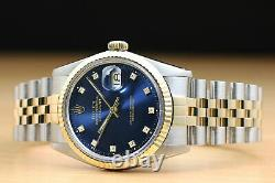 Rolex Mens Datejust Factory Diamond Dial 18k Yellow Gold/stainless Steel Watch