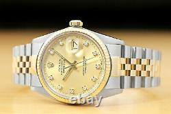 Rolex Mens Datejust Factory Diamond Dial Two-tone Quickset Watch + Rolex Band