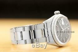 Rolex Mens Datejust Original Gray Sigma Dial 18k White Gold & Steel Watch