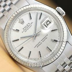 Rolex Mens Datejust Oyster Perpetual Silver Dial Watch + 18k White Gold Bezel