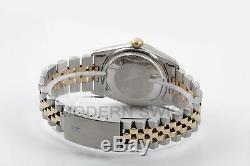Rolex Mens Datejust Yellow Gold Steel Silver Diamond Dial/Bezel Jubilee Quickset