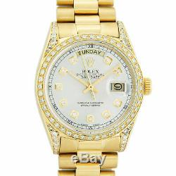 Rolex Mens Day-Date 36mm President Watch 18K Yellow Gold Silver Diamond Dial
