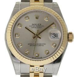 Rolex New Datejust 31mm 178273 Steel Gold Silver Diamond Box/Paper/WTY #RL345