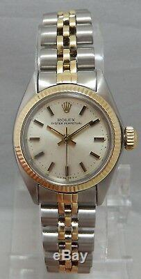 Rolex Oyster Perp All Original 14k/ss Gold Ladies Watch Silver Dial Jubilee 1978
