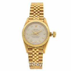 Rolex Oyster Perpetual 18K Yellow Gold Silver Diamond Dial Lady Watch 67198