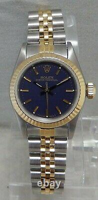 Rolex Oyster Perpetual 18k/ss Gold Ladies Watch Blue Dial Sapphire Crystal 1987