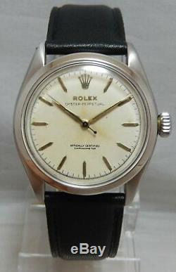 Rolex Oyster Perpetual 34 mm Mens SEMI BUBBLEBACK Watch On Leather Strap 1953