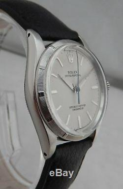 Rolex Oyster Perpetual SS Mid Sized Watch ORIG PAPERS Engine Turned Bezel 1958
