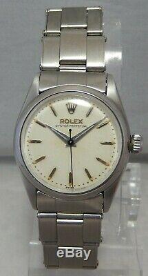 Rolex Oyster Perpetual SS Mid Sized Watch On Orig Bracelet, All Original c. 1957