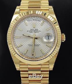 Rolex President Day-Date 228238 18K Yellow Gold Silver Motif Dial Watch BP NEW
