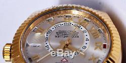 Rolex Sky-Dweller 18k Gold Silver Roman Dial Mens GMT Watch Box/Papers 326138