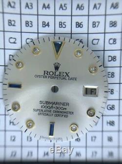 Rolex Submariner 2 Tone & Yellow Gold Silver Serti String Diamond Sapphire Dial