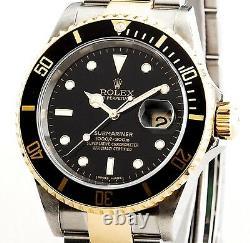 Rolex Submariner Men 18k Yellow Gold & Steel Watch Black Sub No Holes SEL 16613T