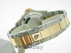 Rolex Submariner Mens 18k Yellow Gold & Steel Watch Blue Sub No Holes SEL 16613T