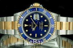 Rolex Watch Men's 40mm Submariner 16613 18K Gold and Steel Blue Insert and Dial