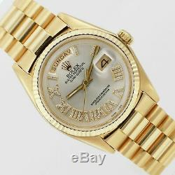 Rolex Watch Mens Day-Date 1803 Presidential Gold Silver Roman Diamond 36mm