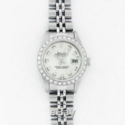Rolex Watch Womens Datejust Steel 18K White Gold Silver Diamond Dial and Bezel