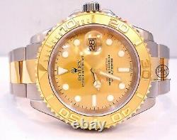 Rolex Yacht-Master 16623 Two Tone 18K Yellow Gold/SS Champagne Dial Watch MINT