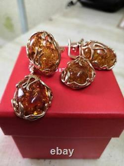 Russian Earrings amber gold Rose gold Silver 10g NEW fine jewelry big stone USSR