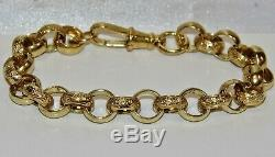 SOLID 9CT YELLOW GOLD & SILVER 8.75 inch MEN'S BELCHER BRACELET