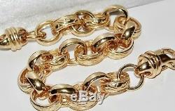 SOLID 9CT YELLOW GOLD & SILVER 9 inch MEN'S BELCHER BRACELET PATTERN & PLAIN