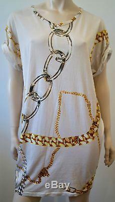 STELLA MCCARTNEY Cream Cotton Gold Silver Chain Print Short Sleeve Dress 42 UK12