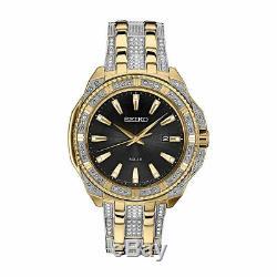 Seiko Mens Solar Swarovski Crystal Gold Silver Stainless Black Dial Watch SNE458