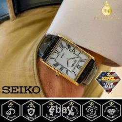 Seiko SUP880 Rectangle Men's Core Solar Powered Watch Gold Tone Black Leather