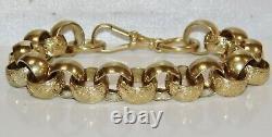 Solid 9ct Yellow Gold On Silver 9.5 Inch Heavy Men's Chunky Belcher Bracelet