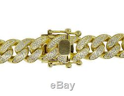 Sterling Silver Yellow Gold Lab Diamonds Miami Cuban Link Chain Necklace 12mm