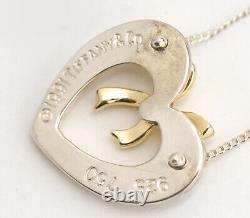 TIFFANY&Co Ribbon Bow Heart Necklace 17 18K Yellow Gold & Silver 925