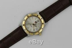 Tag Heuer WK1120 Watch Mens 2000 Brown Leather GOLD SILVER Professional WK1121
