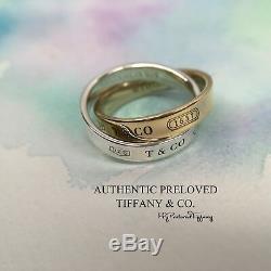 Tiffany & Co. 1837 Yellow Gold Silver Interlocking Circles Ring RP785 4