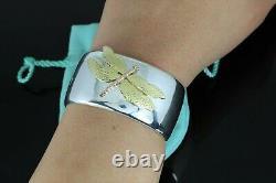 Tiffany & Co 18K Yellow Rose Gold Silver Dragonfly Bangle Bracelet Size Small