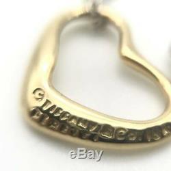 Tiffany & Co. 18k Yellow Gold Silver Elsa Peretti W Open Heart Necklace Pendant