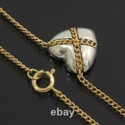 Tiffany & Co. Heart Chain Cross Necklace in 18k Yellow Gold / Silver 925 D5472